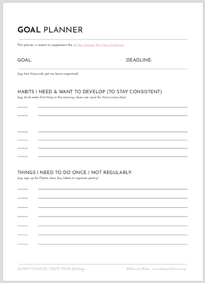 Goal Planner, Free Printable To Get Organized - Beauty Bites.