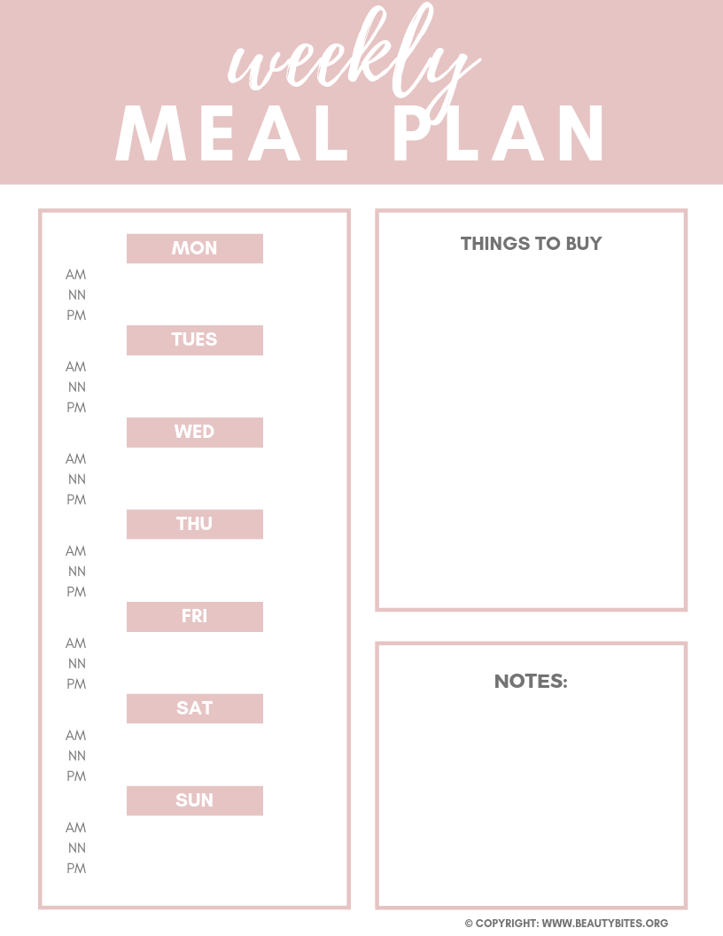 Free weekly meal planner printable to plan and meal prep!