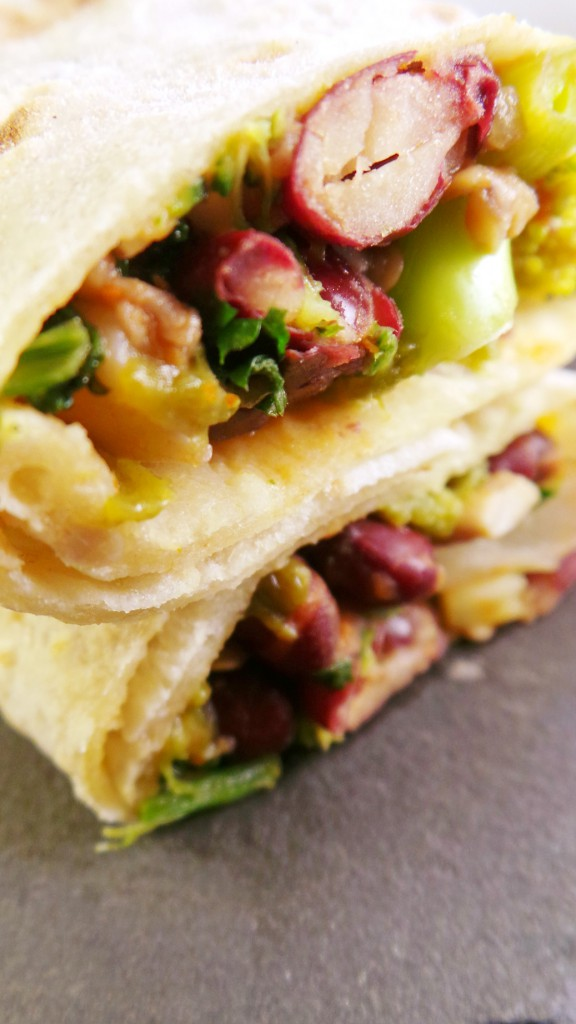 mushrooms and beans wraps