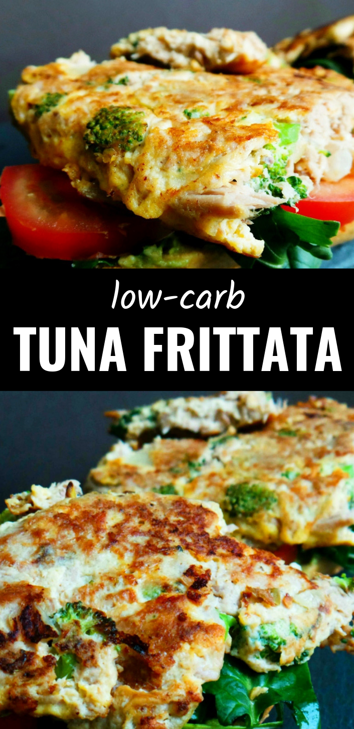 low-carb tuna omelette recipe! This recipe is easy for breakfast or lunch, high protein and a great way to sneak in some vegetables! It's super tasty with some avocado and tomato, more olives! You can also easily meal prep this recipe for breakfast by pouring the mixture into muffin cups and baking for mini frittatas on the go!