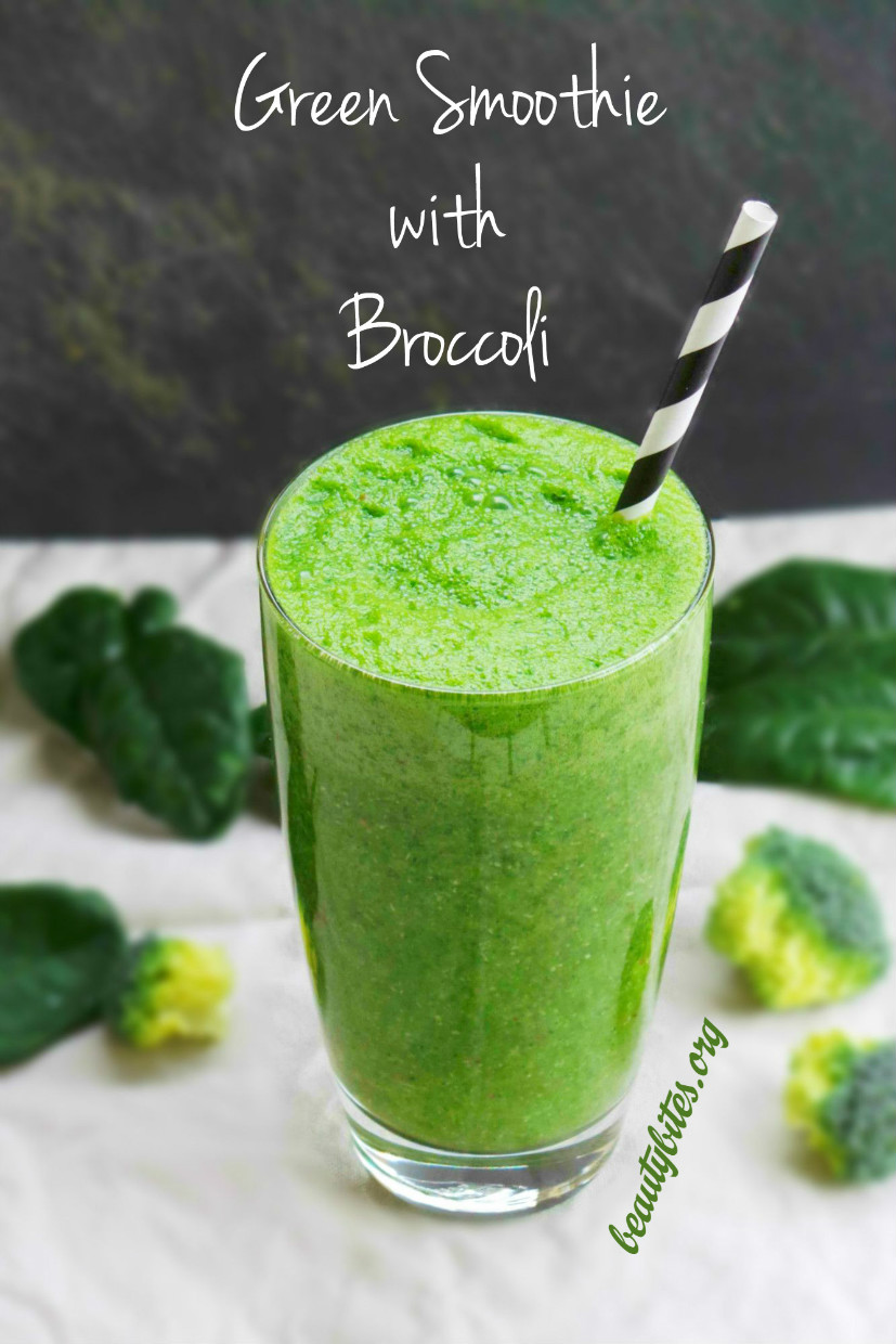 Yes, I made a healthy green smoothie with broccoli. And this healthy drink is very refreshing and to me surprisingly tasty! Get your fruits and vegetables with this healthy smoothie recipe, it is great for more energy, healthy skin and even weight loss. Plus it will make you feel amazing immediately!