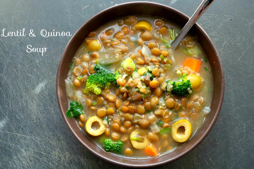 Quinoa and lentil soup recipe with broccoli and vegetables. A warming vegan soup that is great for lunch or dinner!