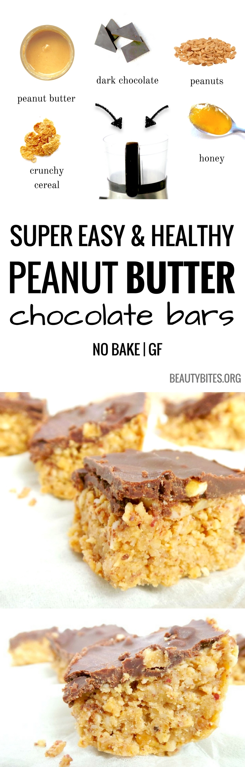 Chocolate peanut butter bites - an easy and delicious healthy treat! Loved these as a healthy snack or even as dessert - definitely satisfied my chocolate AND peanut butter cravings!   easy healthy snacks   www.beautybites.org