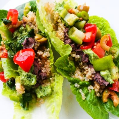 Vegan Lettuce Wraps With Quinoa And Bean Dip