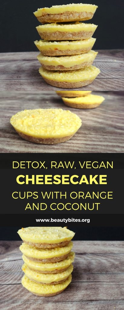 "Mini Detox Raw Vegan Cheesecakes. These saved me during my ""detox diet"" week - delicious raw vegan mini cheesecakes! They're sweetened only with orange (if you don't bother making the crust) and they taste very refreshing. If you think you can only drink smoothies during a detox, you're not doing it right. Seriously. This vegan ""cheesecake"" recipe is gluten-free, raw and full of antioxidants!"