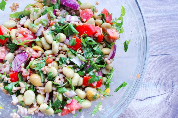 Healthy buckwheat salad with beans