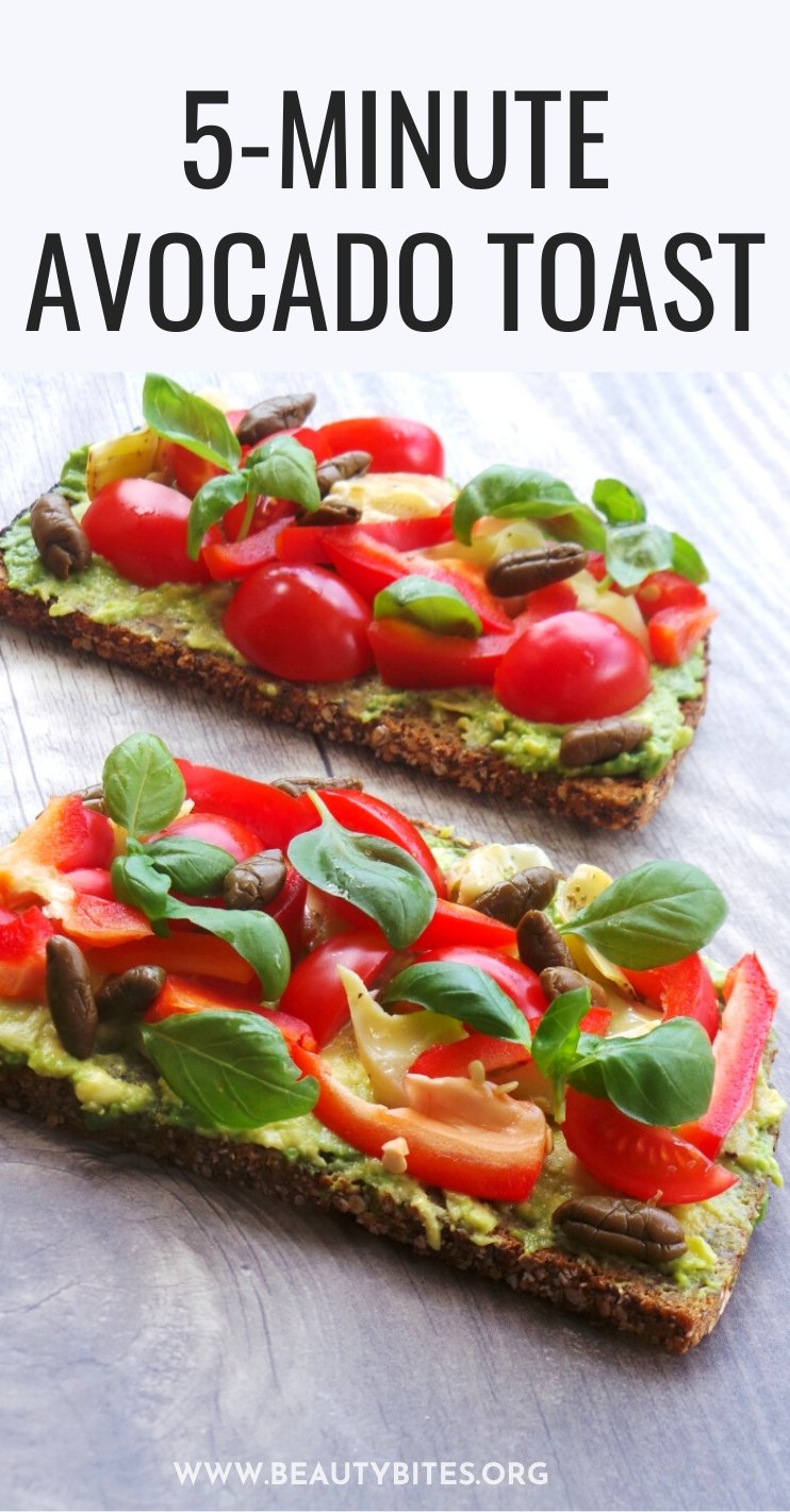 5-minute quick and easy avocado toast recipe for breakfast, lunch, dinner or a quick snack. Learn how to make avocado toast that is healthy and tastes like pizza. Maybe I'm delusional about the pizza part. But it tastes good. This simple recipe is vegan and delicious!