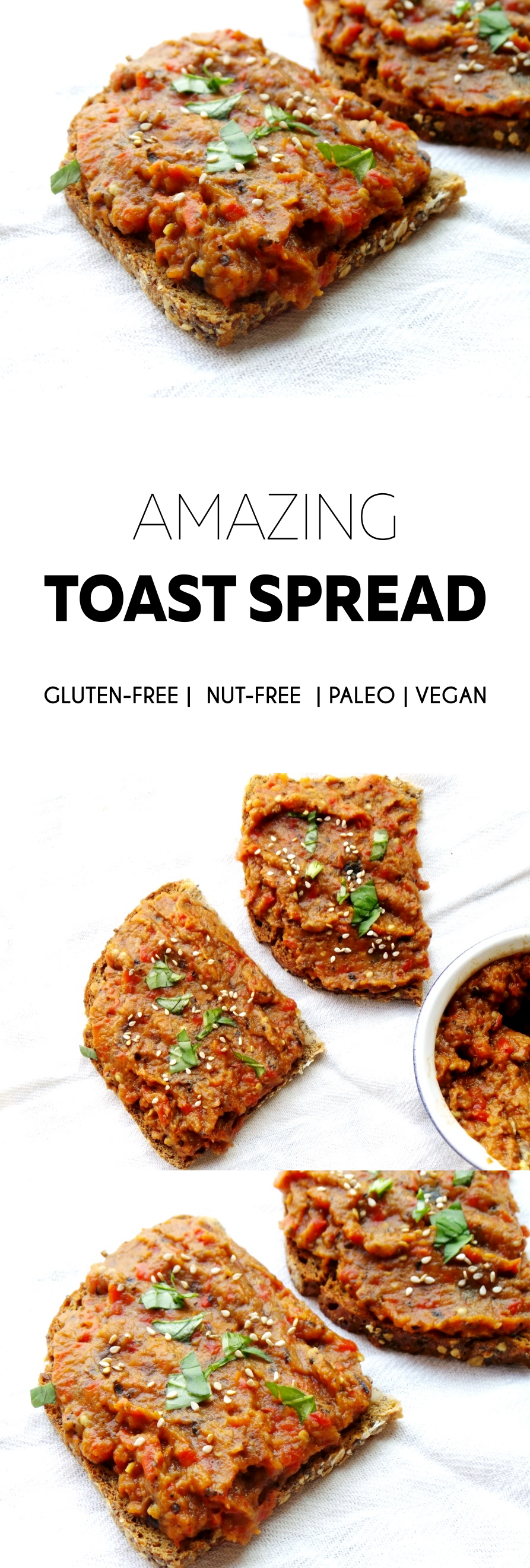 Perfect for a savory vegan breakfast: a healthy toast spread that's not sweet is vegan and paleo!
