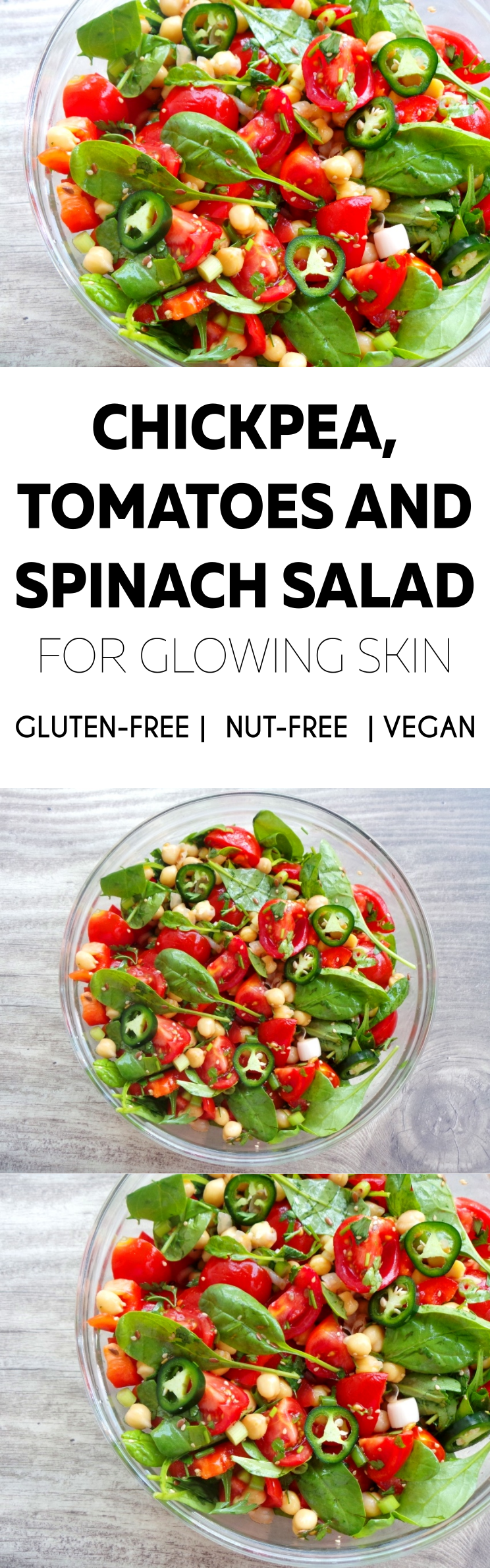 Healthy salad recipe with chickpeas, tomatoes and spinach! This chickpea salad recipe is fresh, satisfying, high-fiber and full of vitamins!