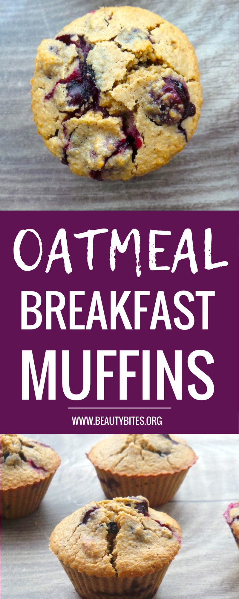 Healthy blueberry muffins for breakfast! These are flourless - instead we're using oats! This recipe is also refined sugar-free - perfect for a healthy breakfast on the go or for meal prep