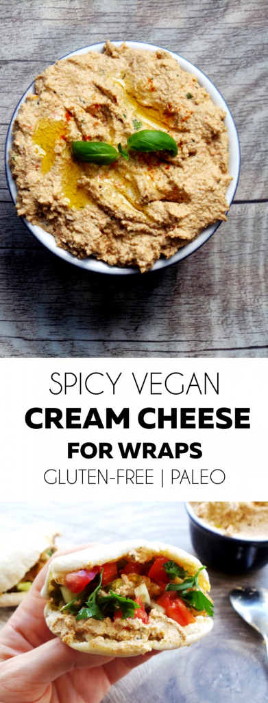 Gluten-free, vegan and paleo cream cheese with some spice! Perfect for all kinds of wraps or with falafels, or to dip vegetables in it