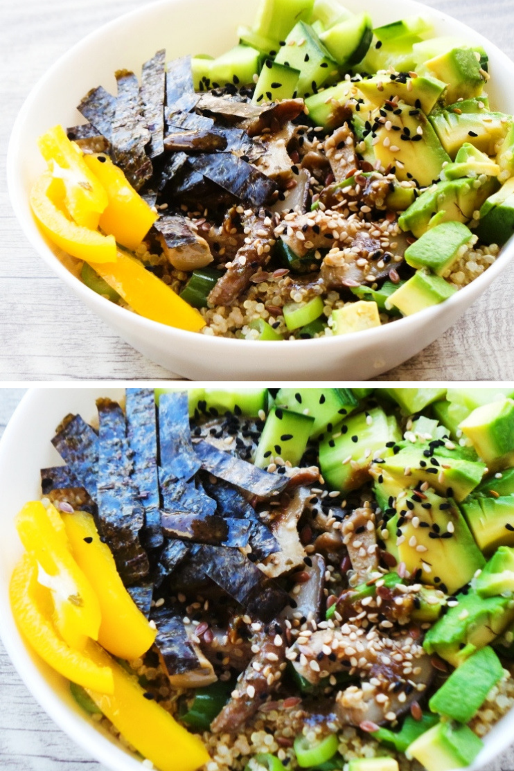 Vegan quinoa sushi bowl. This is an easy healthy vegan lunch that tastes like sushi! This healthy bowl is gluten-free, light and super tasty. And very quick to make! #lunch #quinoa