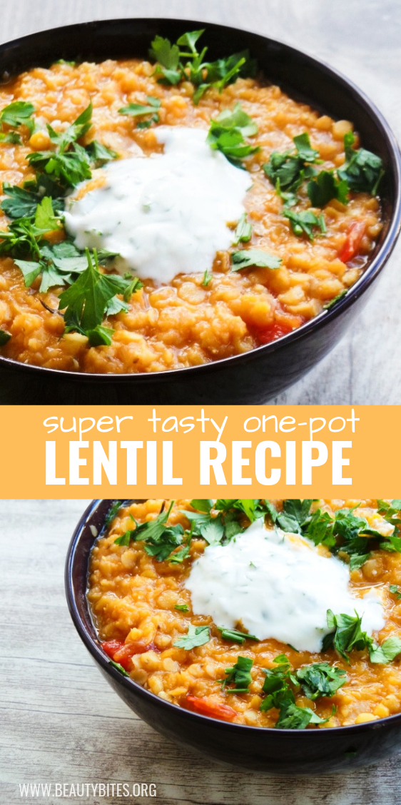 Easy and healthy lentil recipe! This one pot lentil recipe can be made in no time and is vegan, high-fiber and gluten-free.