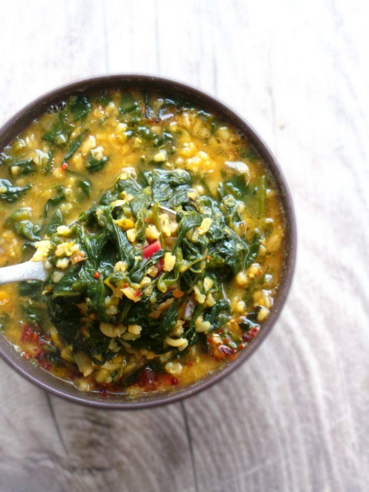 1 Pot Warming Bulgur, Red Lentil And Spinach Soup