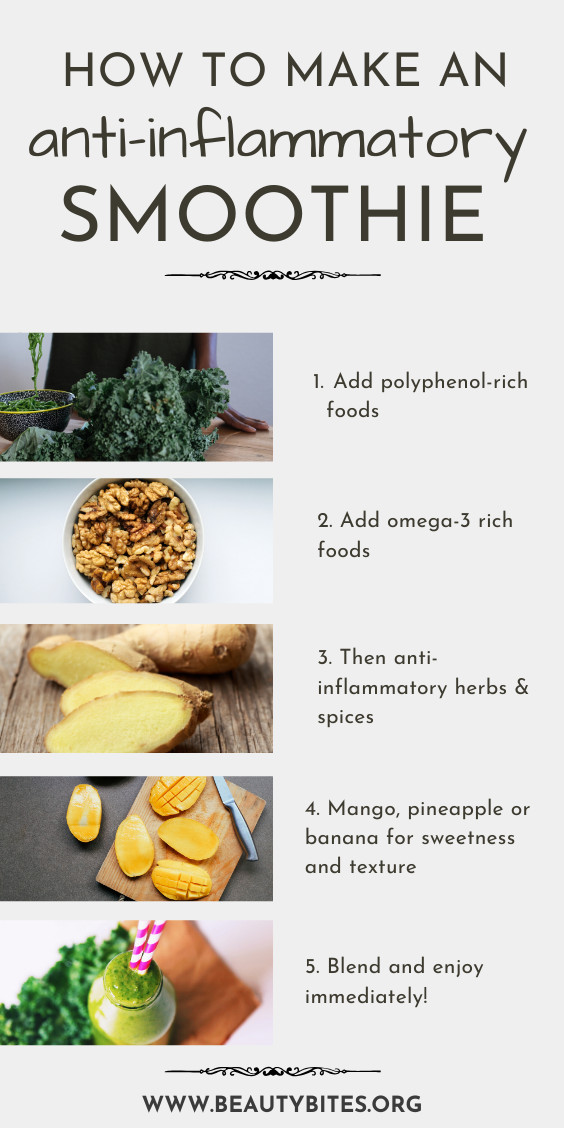 If you're wanting to start the anti-inflammatory diet and are looking for anti-inflammatory recipes, something easy you can do is try anti-inflammatory smoothie recipes! What's better - learn how to make your own healthy anti-inflammatory smoothie with this simple guide featuring tips on how to reduce inflammation and the anti-inflammatory foods you should eat!