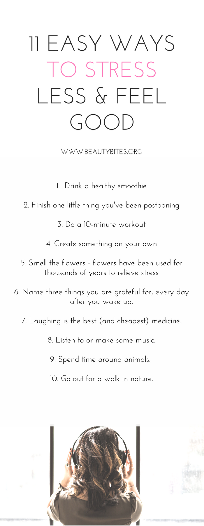 11 easiest ways to stress less and feel good! Doing these 11 things more often always helps me reduce stress and relax! http://www.beautybites.org/11-little-things-make-feel-good-today-no-matter-crazy-busy/ | self care routine