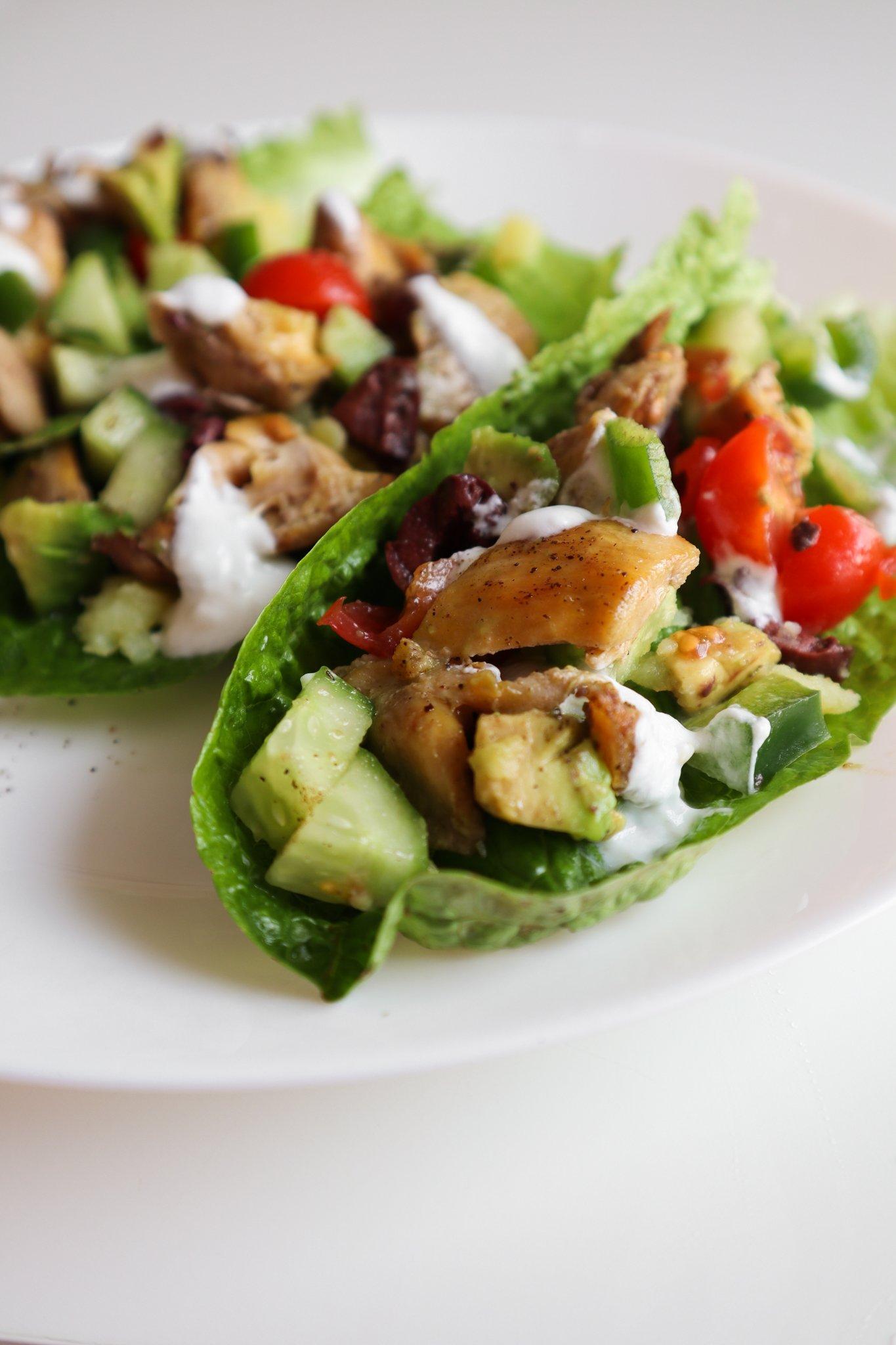 Mediterranean Chicken lettuce wraps - clean eating recipe