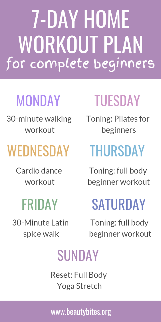 7-Day workout plan for beginners to lose weight and get toned at home! This workout routine is for complete beginners - so if you're overweight or have never exercised, this is for you. No gym membership, or equipment needed! This exercise routine for women includes low-impact workouts like pilates, yoga, walking workouts. The goal is to do something 30min/day, every day for a week, so you can make exercise a healthy daily habit.