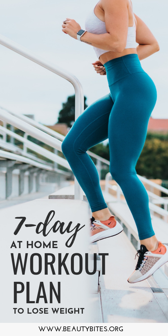 7-Day workout plan to lose weight for women. You can do all exercises at home and don't need any equipment! These exercise routines include Pilates, barre, cardio/dance and yoga routines. #exercise #workout
