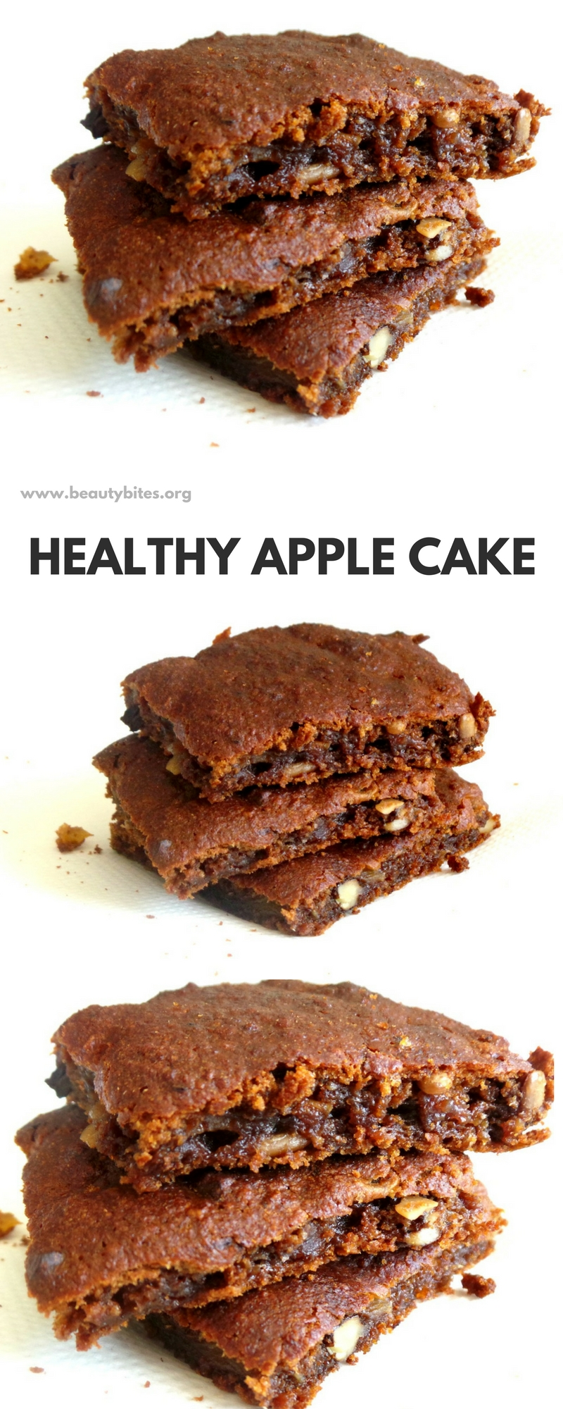 Stop wondering what to do with apples and just make this healthy apple cake with walnuts and oats that is flourless, refined sugar-free and delicious! An easy and super tasty healthy apple dessert that is perfect for healthy meal prep and is good as snack, dessert or even breakfast (if there's any left)!