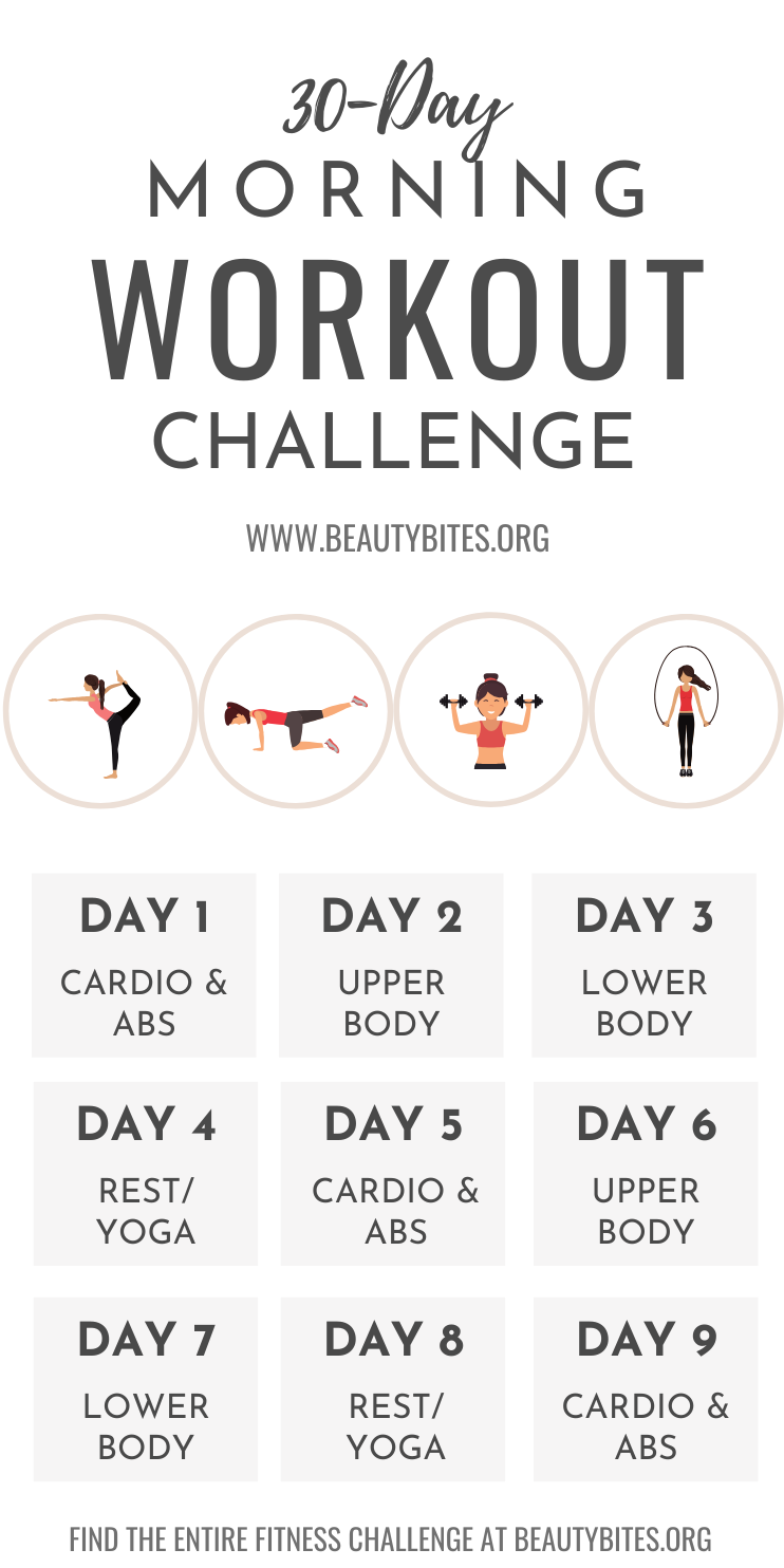 30 day fitness challenge that is perfect for beginners and beyond! This is a morning workout challenge that can lead to a transformation in your physical and mental health! Losing weight with exercise only isn't easy, starting your morning routine with with this positive habit can influence your eating habits throughout the day as well. The workouts in this challenge include full-body workouts, ab workouts, cardio workouts and so much more - and you don't need the gym. You can do all exercises at home or outside!