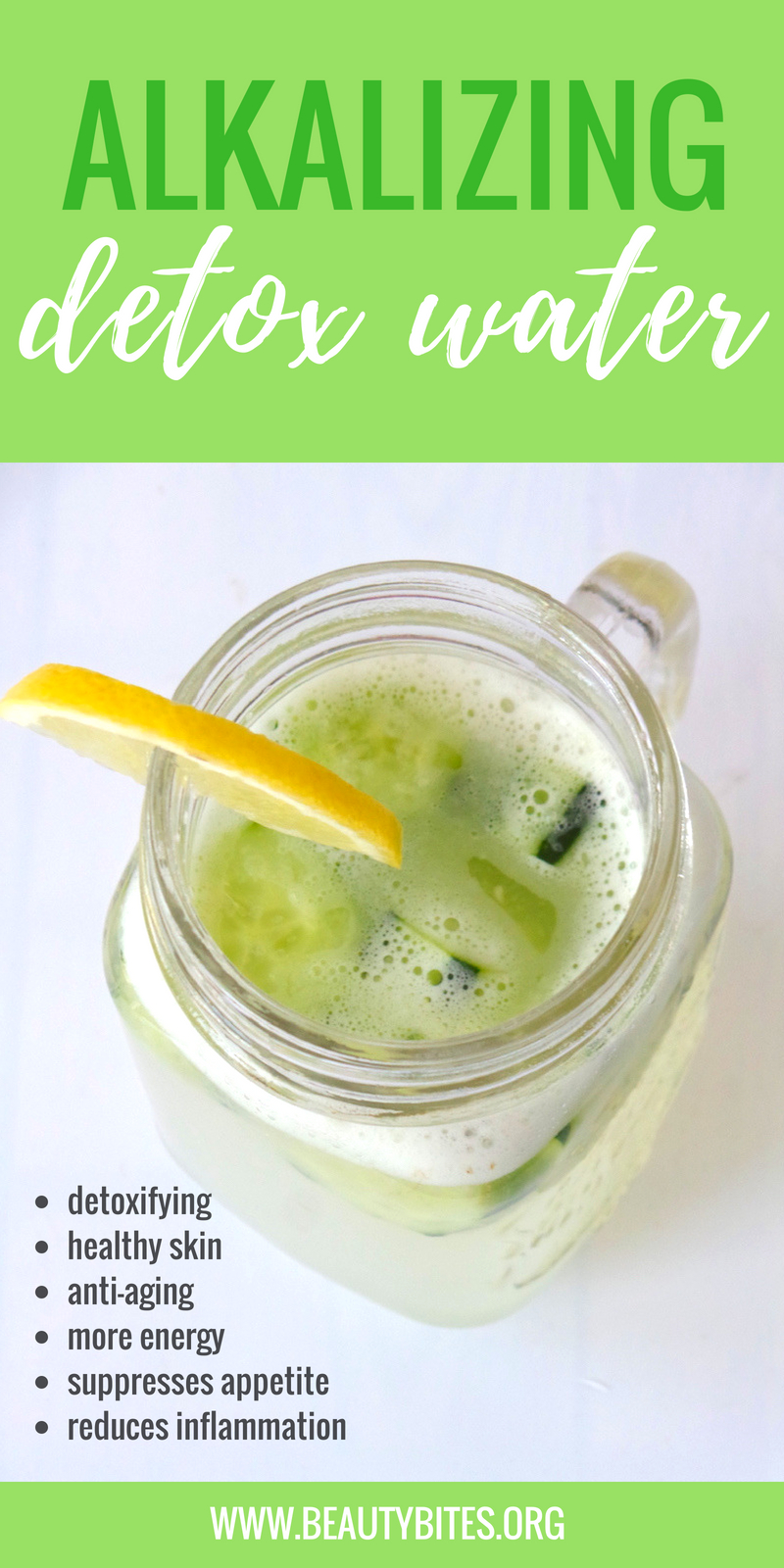 Alkalizing detox water to rejuvenate and make you feel awesome! Remove toxins, have more energy and alkalize your body with this infused water recipe! The ingredients are 2 highly alkaline foods and water! Enjoy! | www.beautybites.org