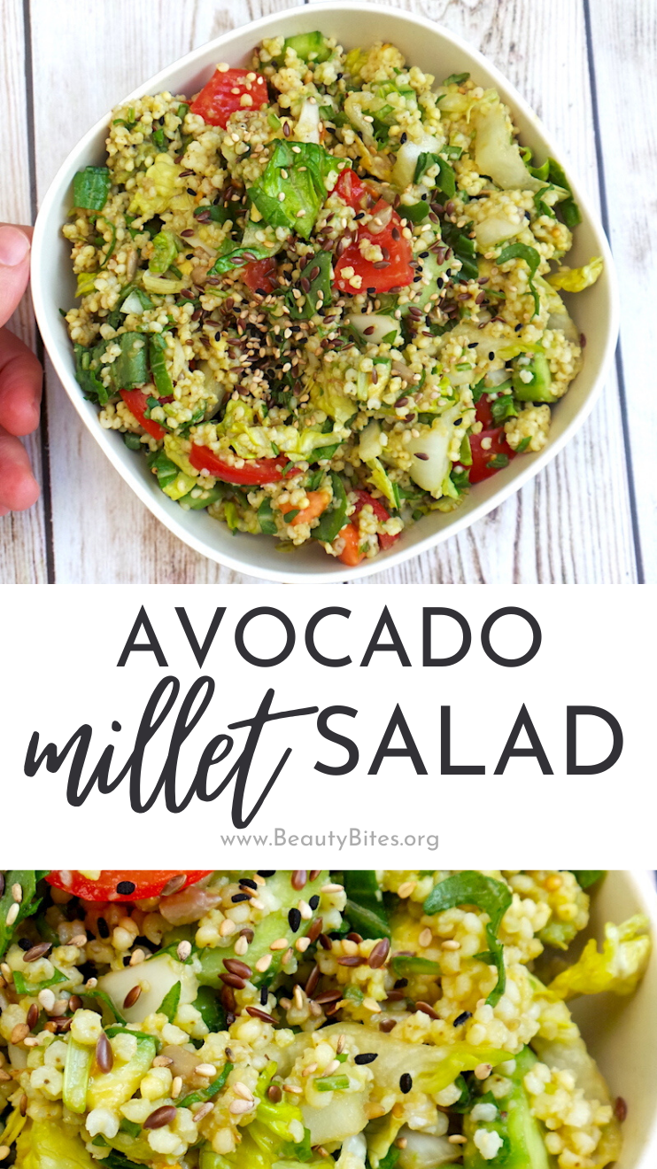 Avocado millet salad - easy and healthy salad recipe that is fresh, quick to make and delicious! This millet recipe is great for a cold lunch or a side dish, perfect summer salad!