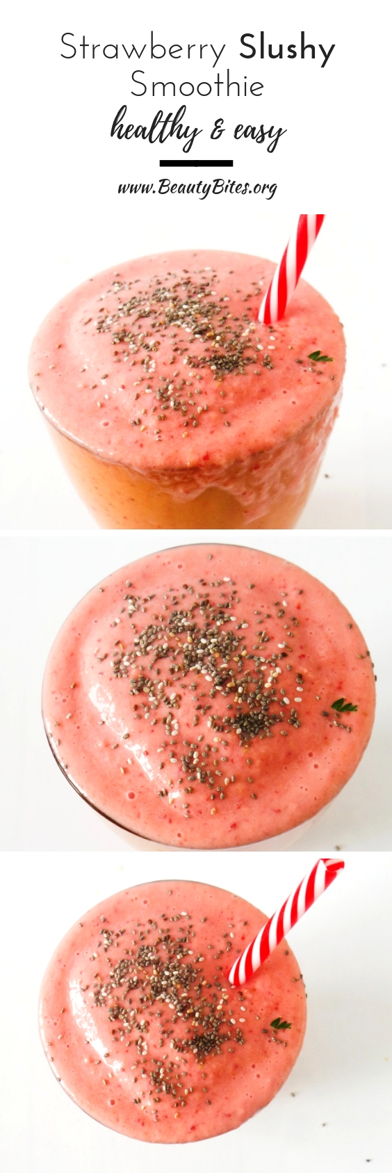 Super healthy strawberry smoothie recipe without bananas! This one is made with peaches and tastes like a strawberry shake/slushy! You need to try it - it's sweet, healthy and delicious!