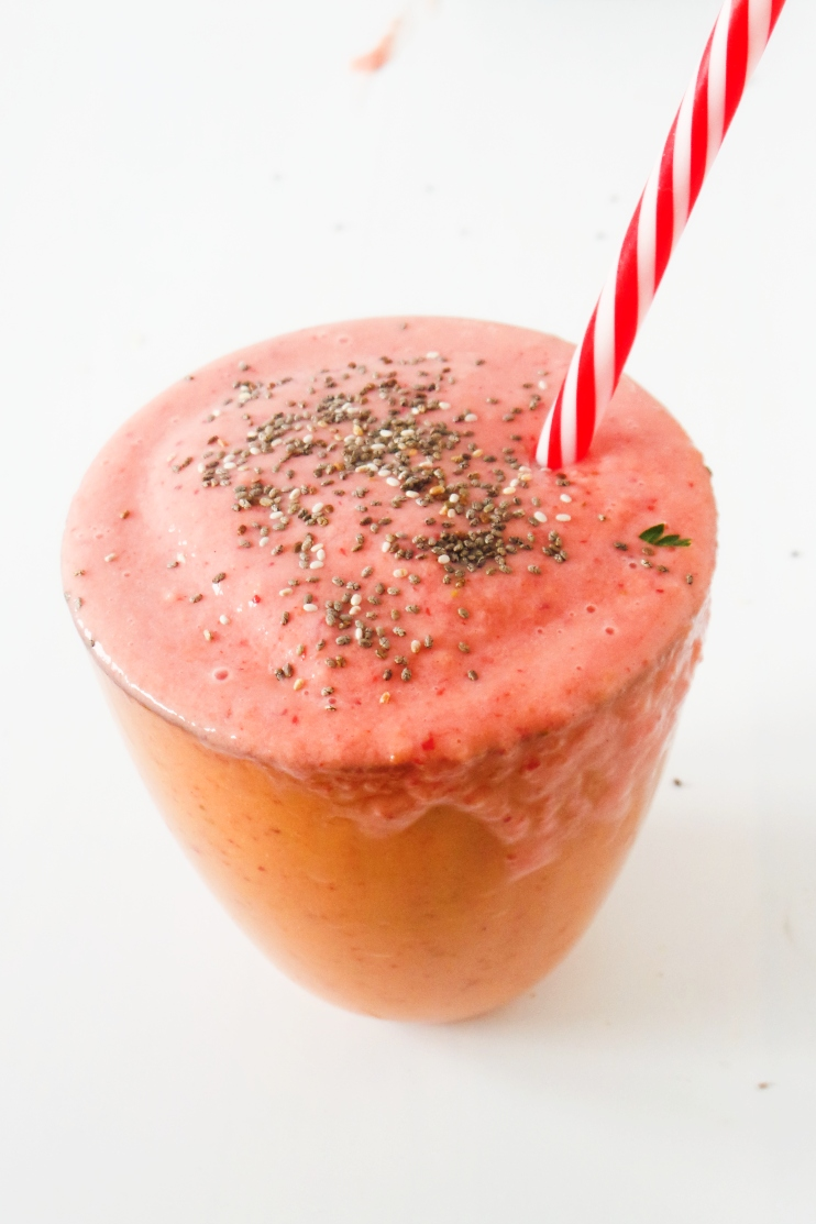 Strawberry Slushy Smoothie - Healthy Smoothie Recipe - sweet, healthy and tastes like a strawberry shake (without the bad stuff!)
