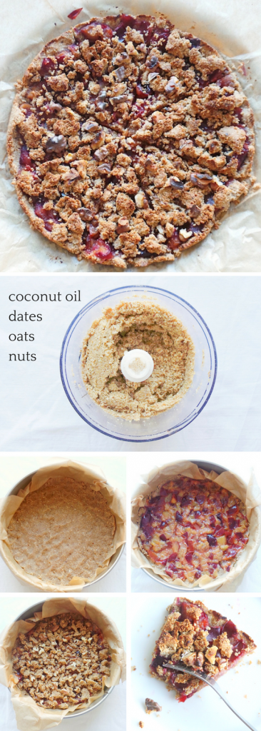 healthy plum crumble pie that is vegan, flourless and refined sugar-free! This is good to satisfy a sweet craving, but also a great vegan meal prep breakfast recipe | www.beautybites.org