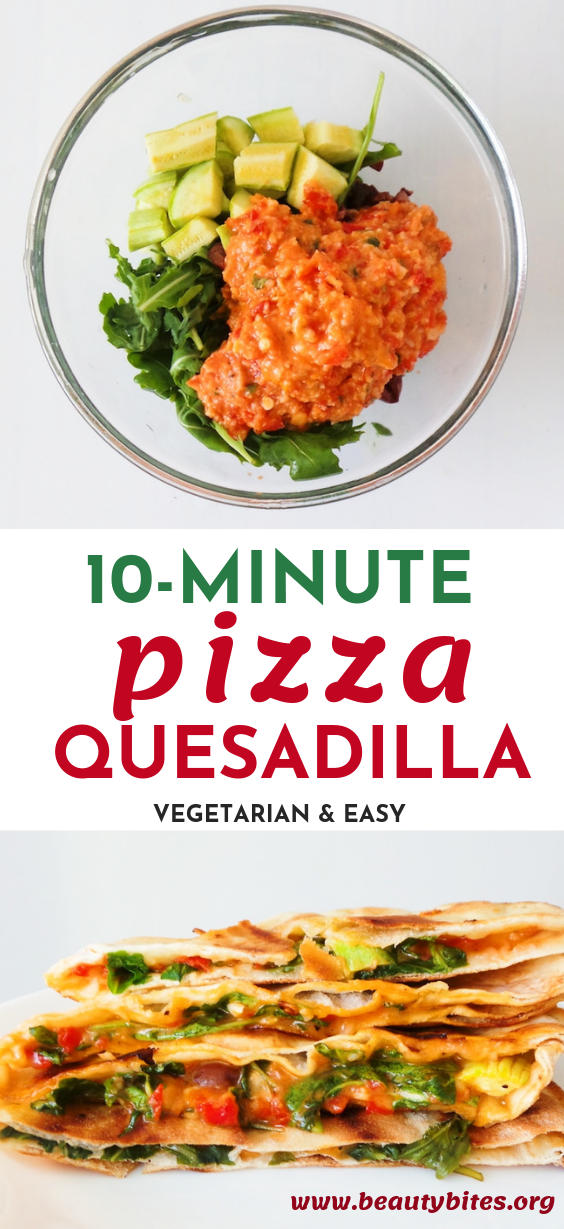 Easy vegetarian quesadillas, well pizza quesadillas! Filling is tomatoes, basil, cheese, arugula, garlic and some more vegetables! Delicious, healthy and easy recipe you can make in 10 minutes using your food processor for lunch or dinner! | www.beautybites.org