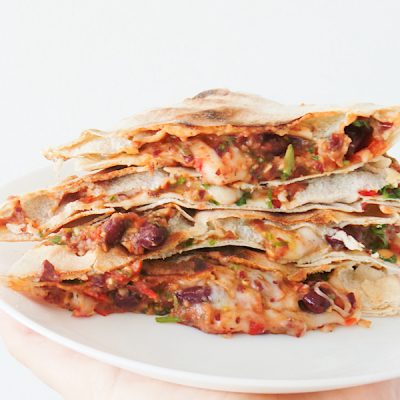 Vegetarian Quesadillas With Beans, Easy & Quick