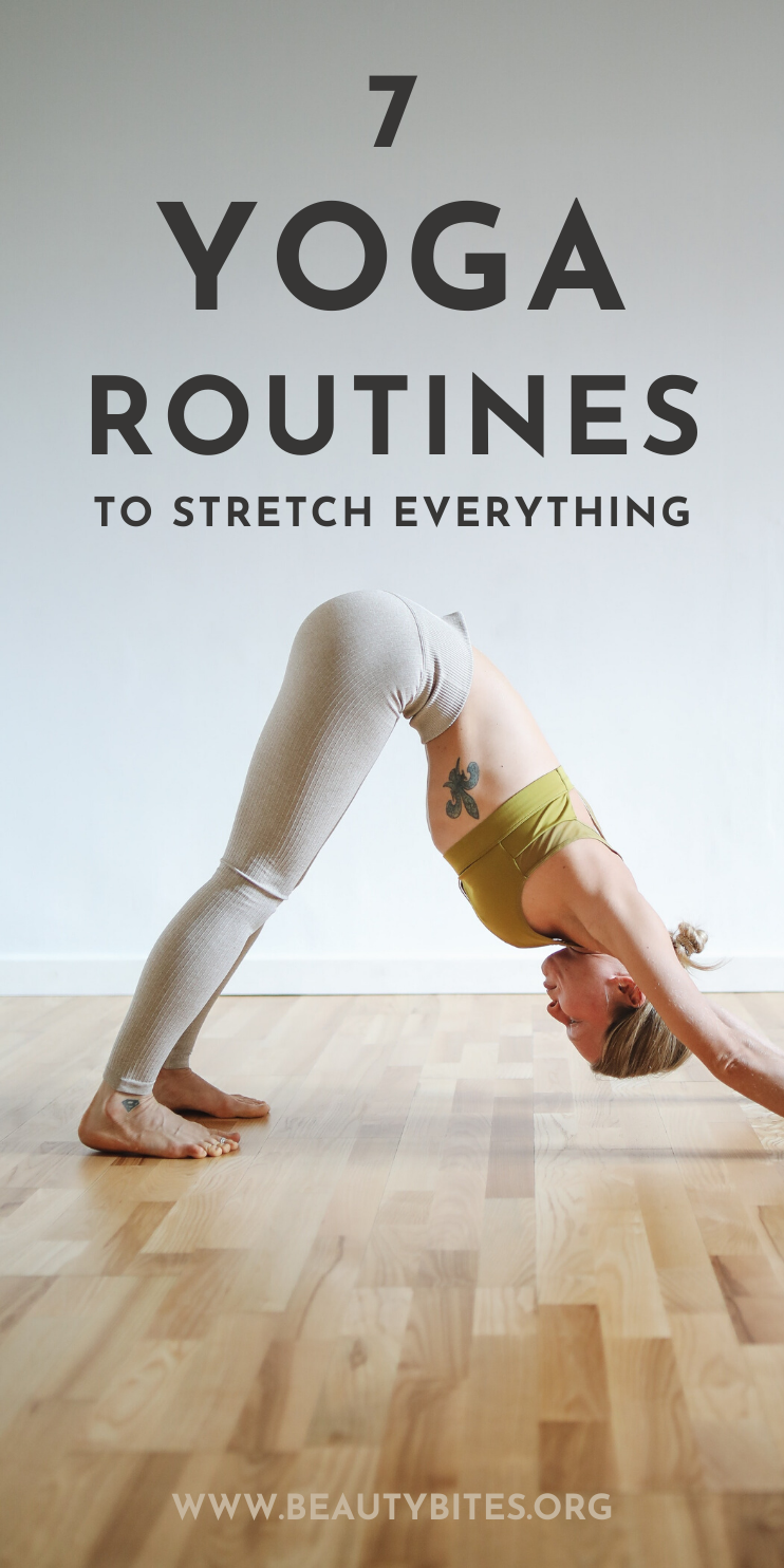 7 Yoga Routines to Stretch everything! These yoga poses are great to improve flexibility and release stress - follow the instructions in the free yoga videos, you'll feel like a brand new person by the time it's over! These yoga sequences are also great for beginners!