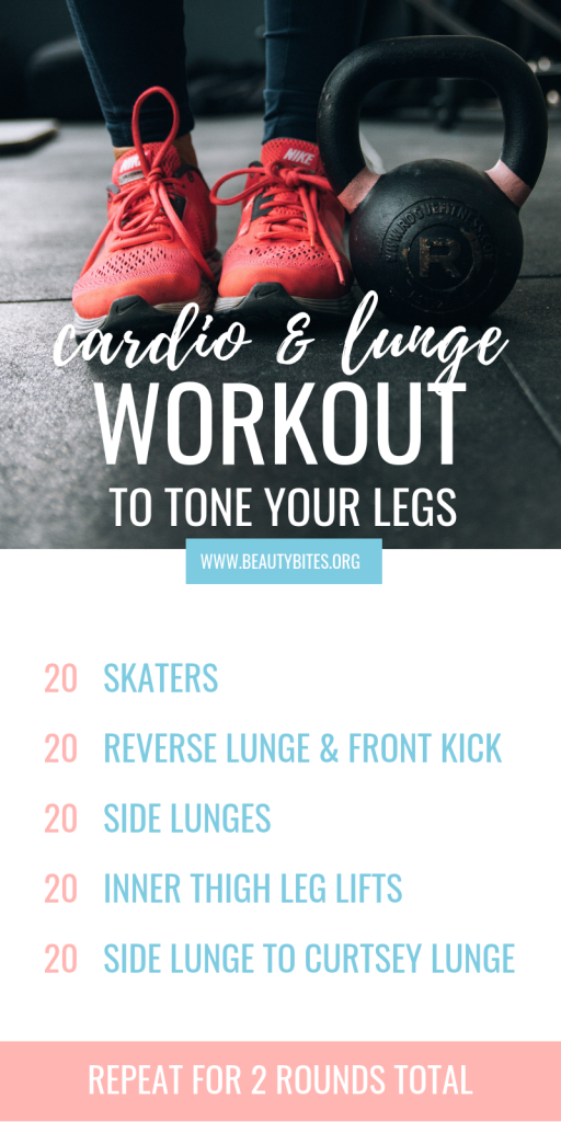 15-minute leg workout that you can do at home! The moves in this exercise routine will tone your legs and butt, there are some lunges, some cardio and inner thigh work involved. This is a very effective at home workout for women! You can do this workout anywhere, with or without weights :) | www.beautybites.org