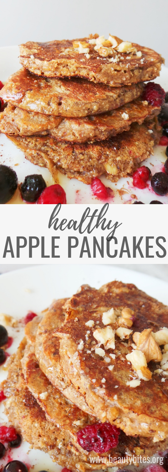 Healthy pancakes with apple, oats and honey - flourless and refined sugar-free! These apple pancakes turn into an easy and healthy breakfast that tastes amazing! Try it! | www.beautybites.org