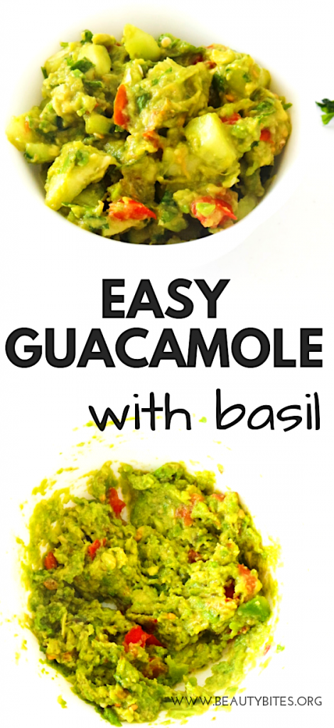 Easy guacamole with basil and cucumber. A fresh and flavorful side dish or dip you can enjoy with dinner or lunch! You can also use it in wraps and bowls, the recipe is vegan, low carb and paleo!