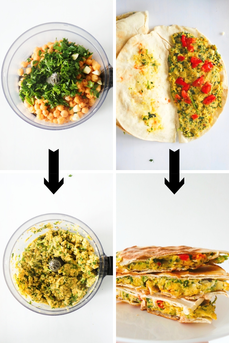 "Easy falafel ""wrap"" recipe! This healthy dinner recipe is done in 15 minutes - it's vegan, high-protein and full of flavor!"