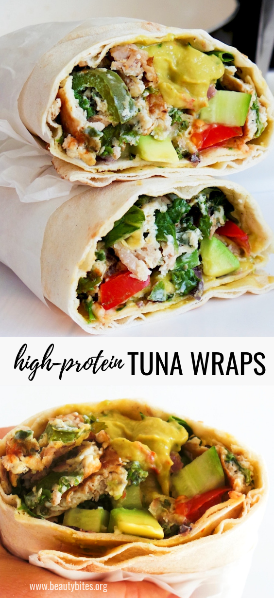 Healthy tuna wraps with eggs, kale and other vegetables. This is delicious as a healthy savory breakfast or as a satisfying lunch or dinner. This tuna recipe will fill you up as it's high-protein, good source of fiber with all the vegetables and rich in antioxidants! This can also be a good clean eating meal prep recipe. #lunch #healthy #wraps