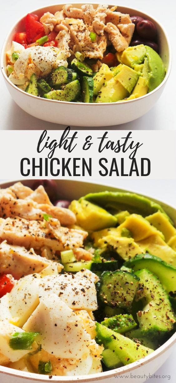 Healthy avocado chicken salad: easy low carb recipe that is high-protein, filling and delicious! This chicken recipe comes with a meal prep option, is gluten-free and paleo, also great for a quick dinner or lunch! With egg, avocado, olives and vegetables this low-carb chicken salad is super satisfying! Clean eating recipe