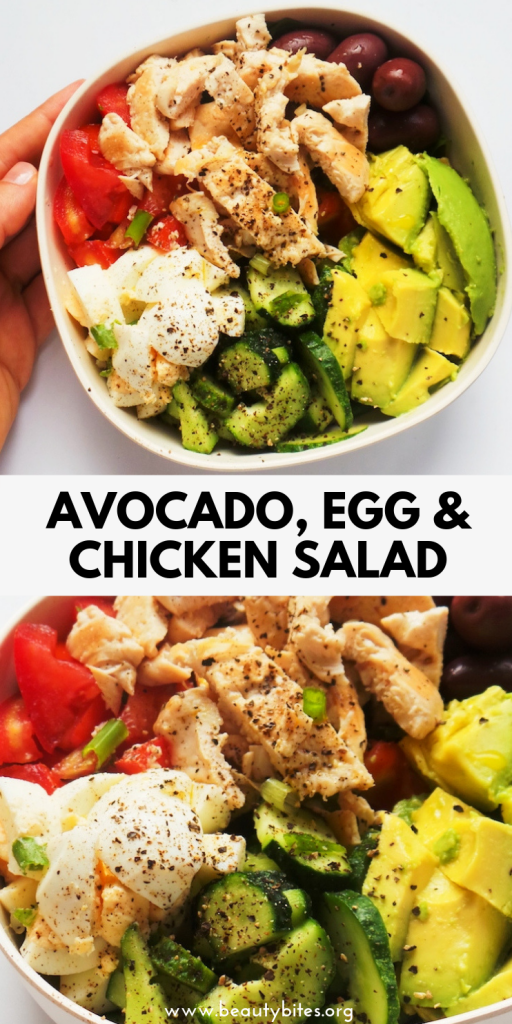 Healthy avocado chicken salad with eggs and olives! This healthy lunch recipe comes with an easy meal prep option and is satisfying and filling. A healthy chicken recipe that is low carb, paleo and gluten-free! | clean eating salad recipe