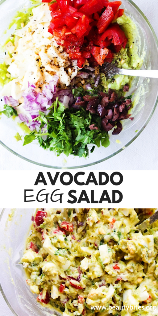 Healthy low carb avocado egg salad! This healthy salad recipe is vegetarian, paleo and gluten-free. It is full of flavor and great for lunch!