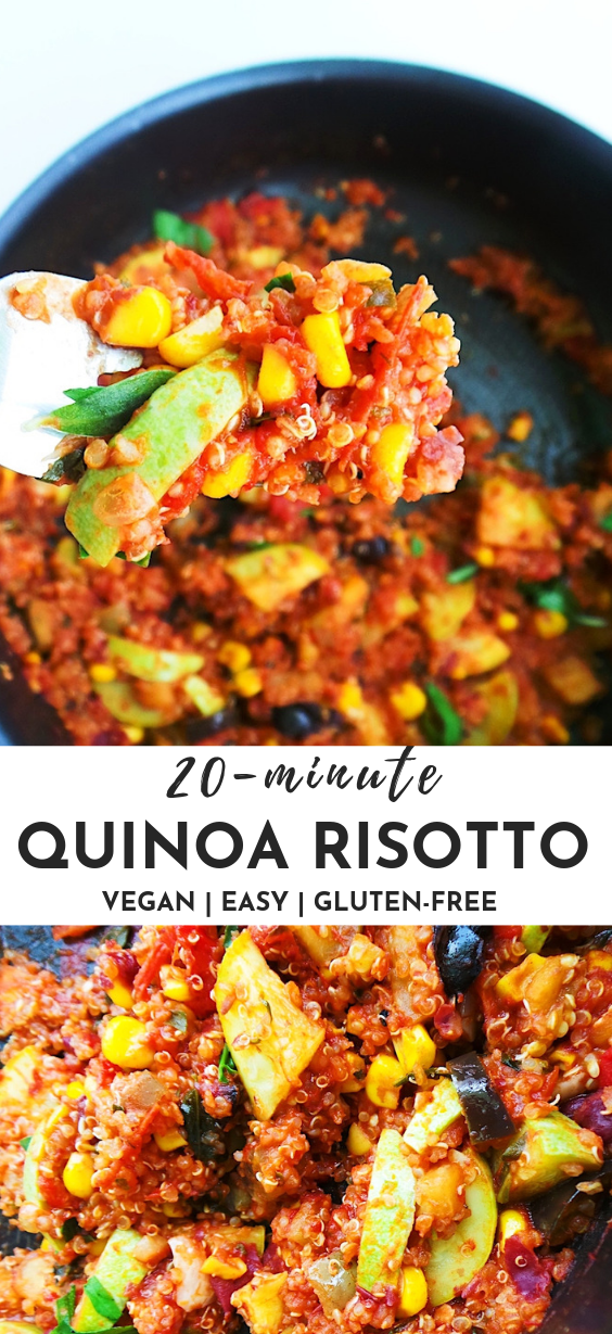 20-minute quinoa risotto! This easy quinoa recipe is healthy, vegan and gluten-free. It keeps in the fridge for 3-4 days and can be a good meal prep recipe. It makes an easy vegan dinner that everyone will love.