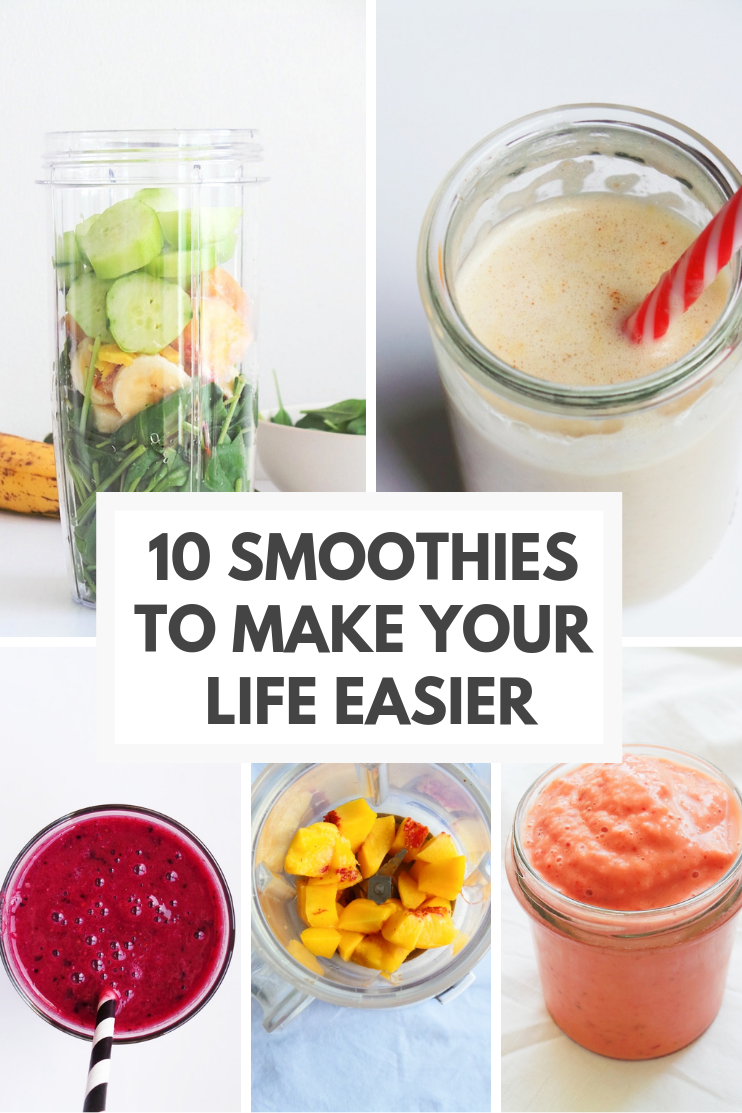 10 healthy smoothie recipes to make your life better! If you've got 5 minutes and are feeling hungry - make one of these easy smoothie recipes that will hydrate and nourish your body, help you lose weight, help you focus! These smoothies are great for breakfast or easy snack.