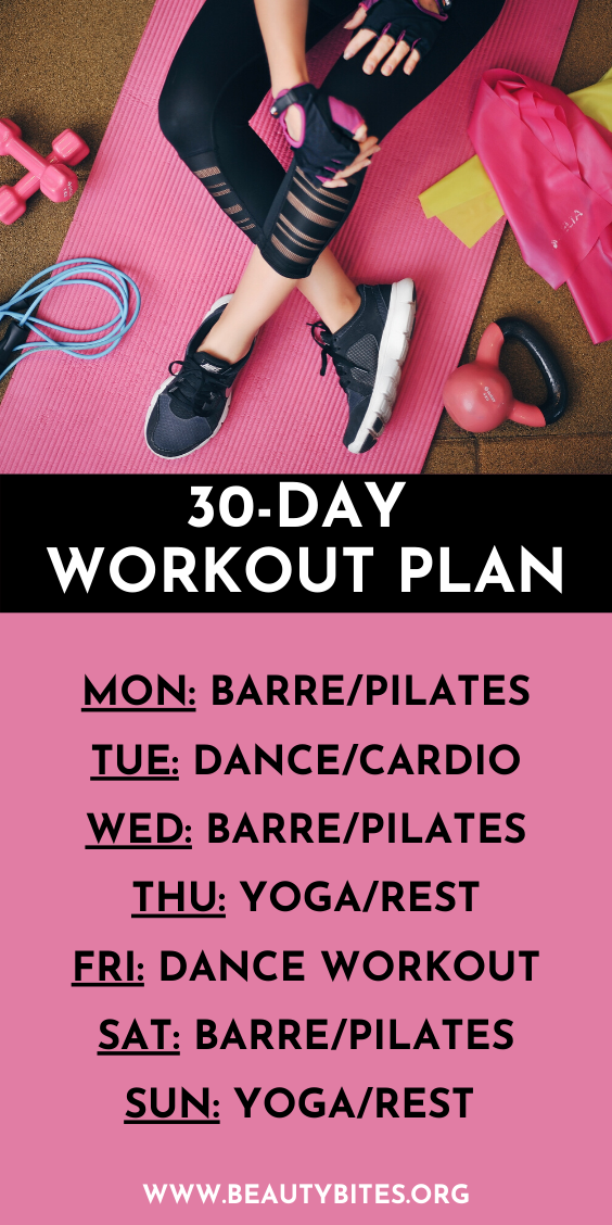 30-day at home workout plan for women with beginner workout options! This workout challenge is simple: move your body every day for 30 minutes! You choose the workout - a list of great free workouts is also included - choose between barre workouts, pilates workouts, dance workouts and yoga to have fun, get stronger and calmer and lose weight (if that's your goal!).