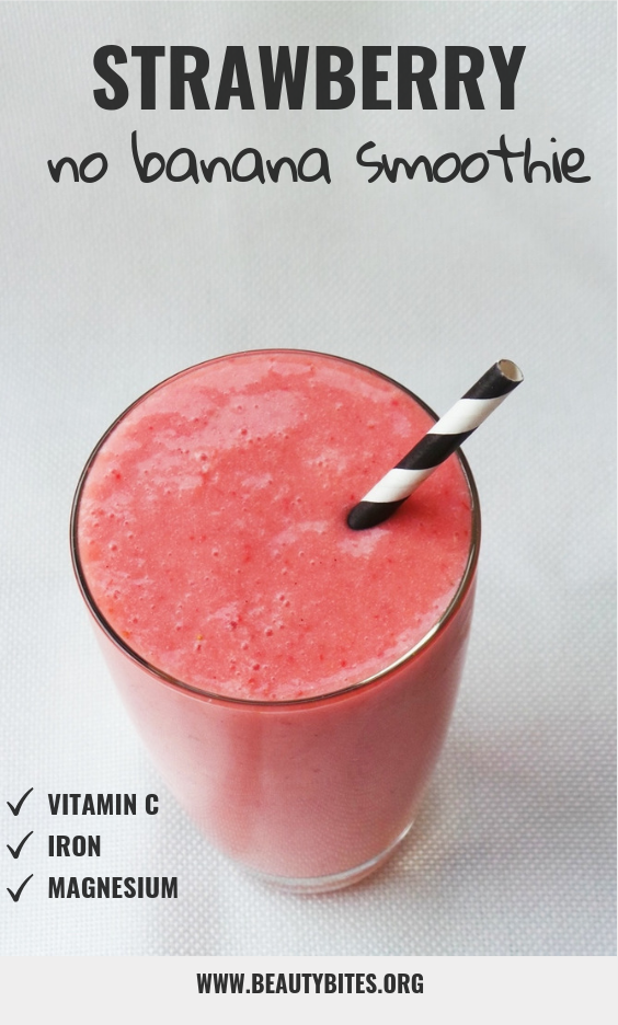 healthy strawberry smoothie without banana - easy snack that is delicious, vegan and paleo! Makes eating clean really easy.