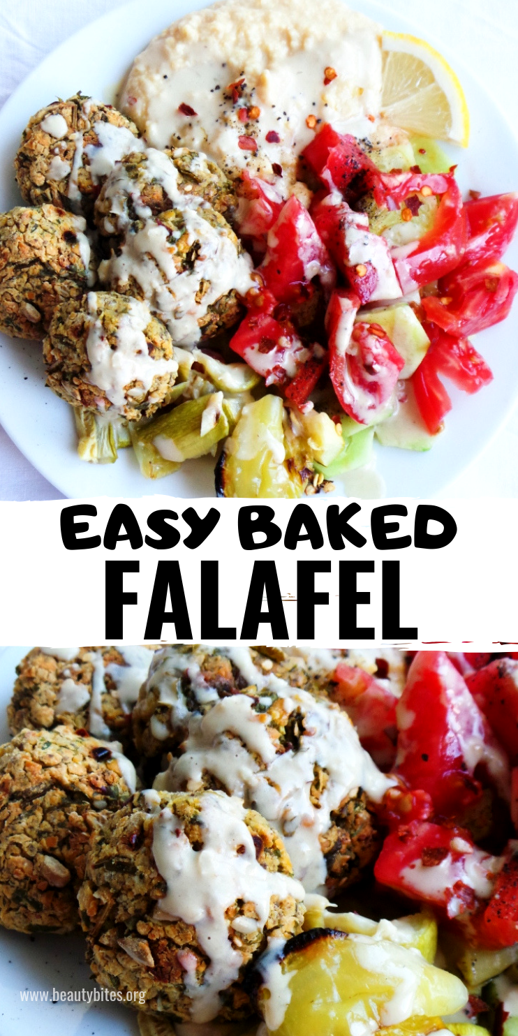 Baked falafel recipe, easy dinner recipe that is tasty and satifsying! This chickpea recipe is vegan and gluten-free!