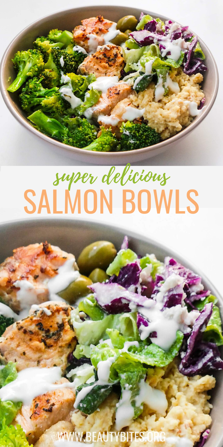 Mediterranean Salmon Bowl - a healthy dinner idea that is easy, full of flavor, super satisfying and ready in less than 30 minutes! This healthy salmon recipe comes with a meal prep option and can easily be made keto and low carb by using low-carb zucchini hummus (recipe provided). | clean eating dinner recipe from Beauty Bites (beautybites.org)