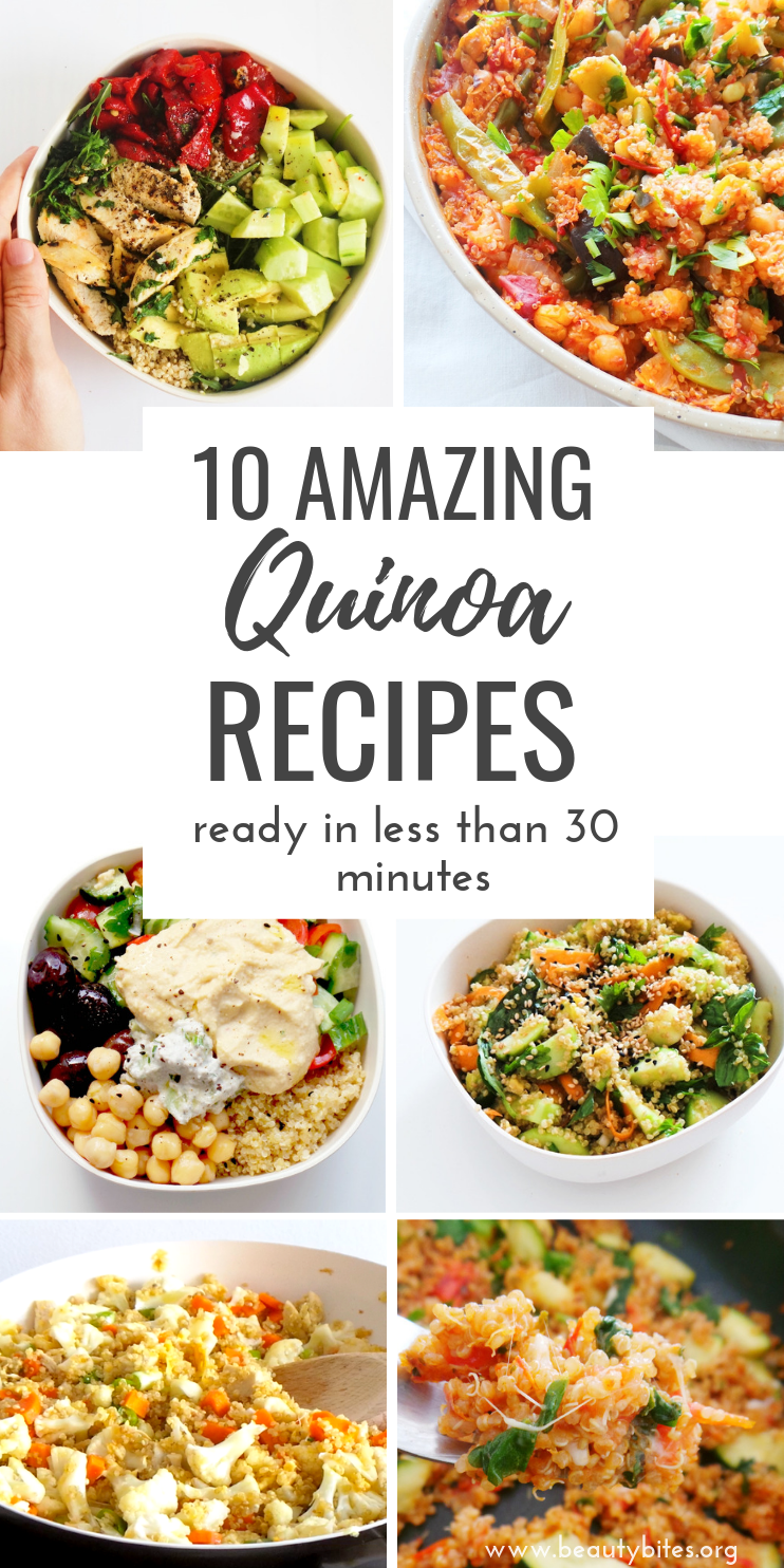 10 healthy quinoa recipes that are easy and you can make in 30 minutes or less. Including many healthy salad recipes with quinoa and delicious vegetarian and vegan quinoa dinner options! | clean eating recipes