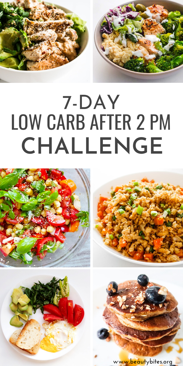7-Day Clean Eating Meal Plan and challenge to eat lower / low carb after 2 pm. This challenge is great if you're trying to lose weight, but don't want to follow a super strict diet like for example a strict low carb meal plan. The clean eating recipes included in the meal plan are delicious and versatile and most come with an easy meal prep option.