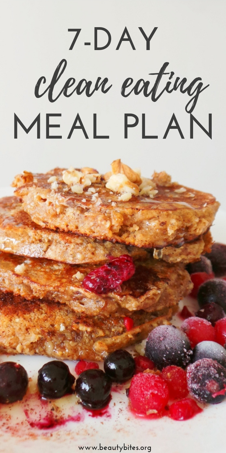 7 day clean eating meal plan! Try this lower carb meal plan if you're trying to lose weight or improve your overall health! Feel free to meal prep some of the lunch and dinner recipes to make things easier!